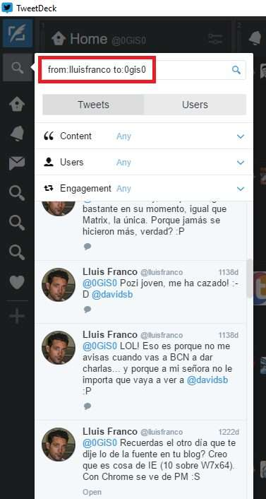 Twitter Search - from:username to:username