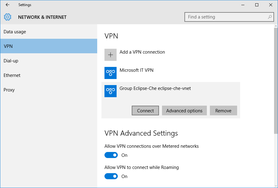 VPN - Group Eclipse-Che eclipse-che-vnet