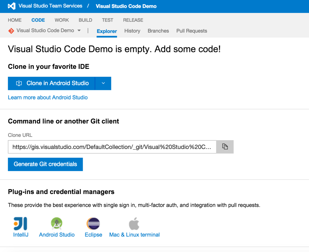 VSTS - Code section