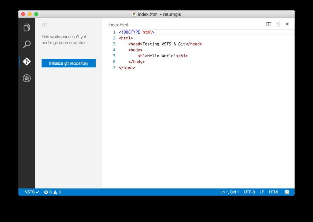 Visual Studio Code - Initialize git respository