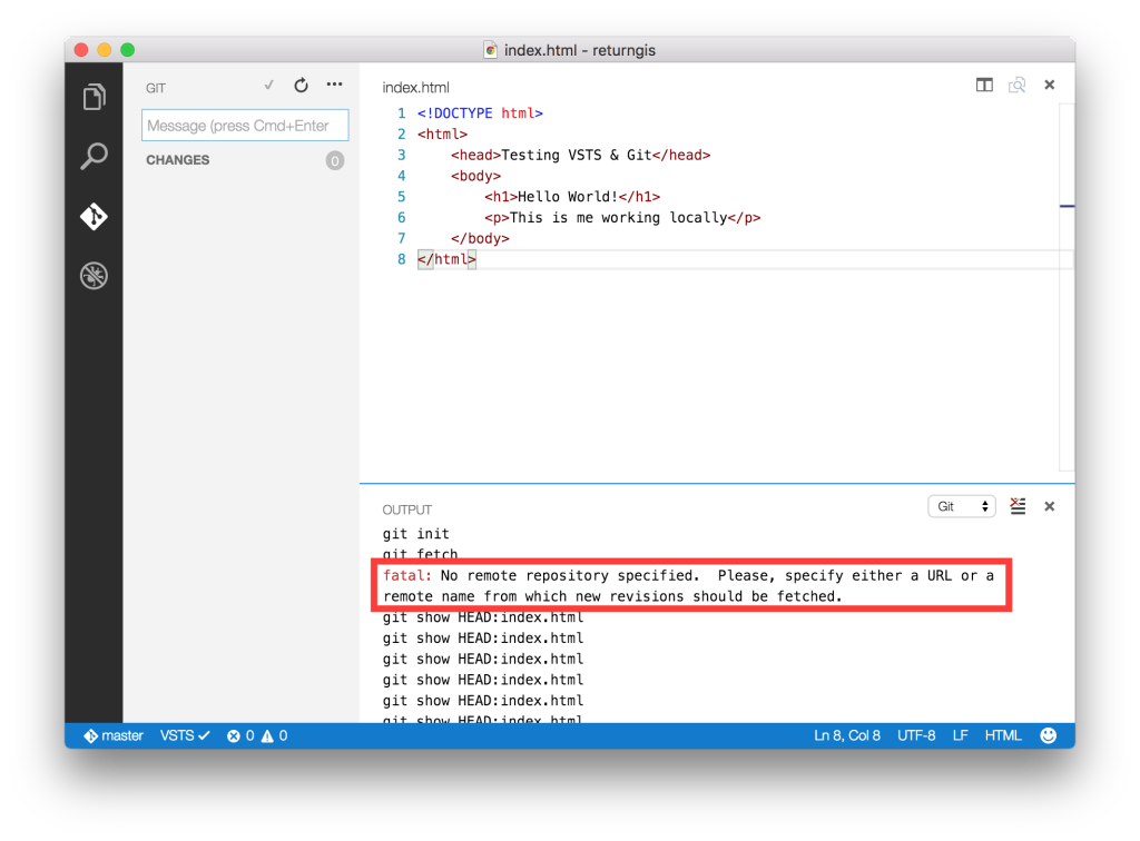 Visual Studio Code - No remote repository specified