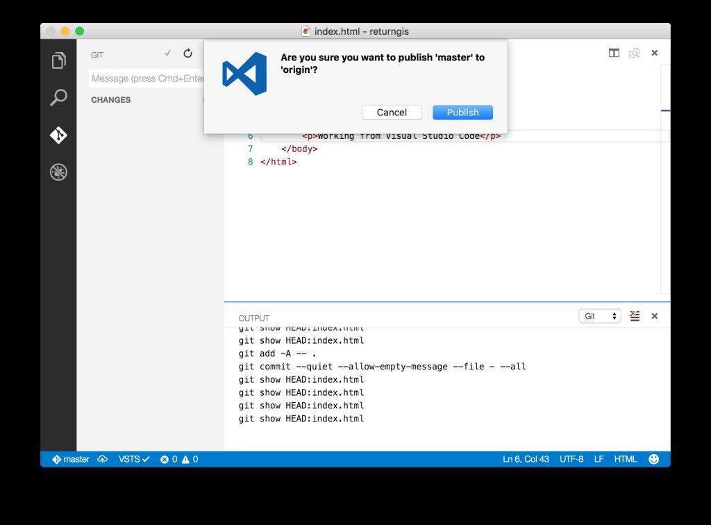Visual Studio Code - Publish to VSTS