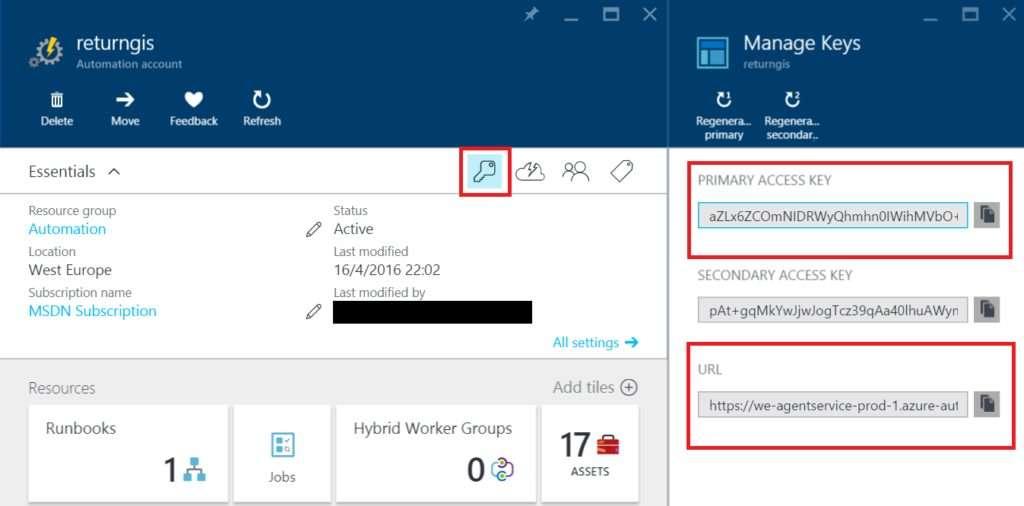 Azure Automation - Manage Keys