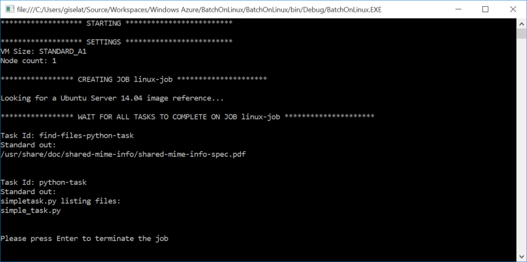 Azure Batch Linux - Output