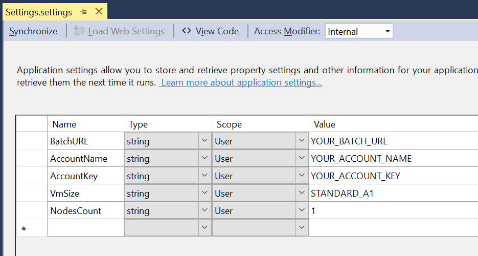 Azure Batch - Settings