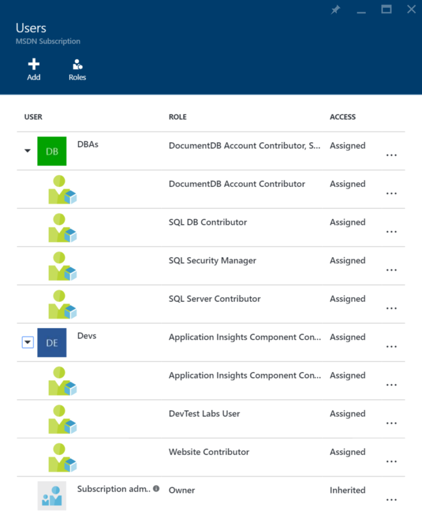 Azure Portal - Subscription - Users and Groups