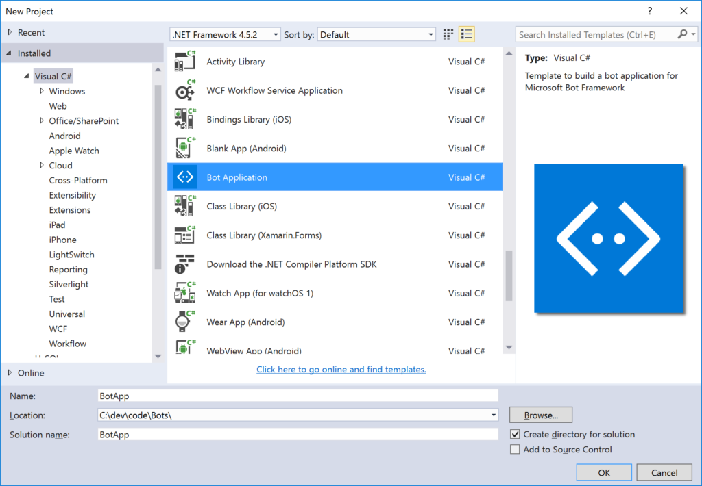 Bot Application - Visual Studio