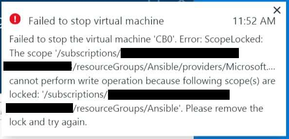 Failed to stop a virtual machine - ScopeLocked