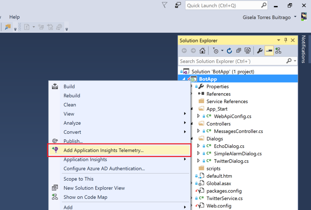 MS Bot - Add Application Insights Telemetry