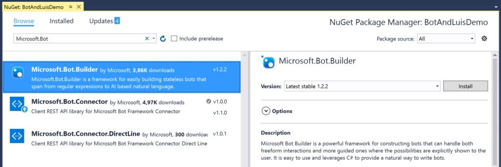 Nuget - Microsoft.Bot.Builder