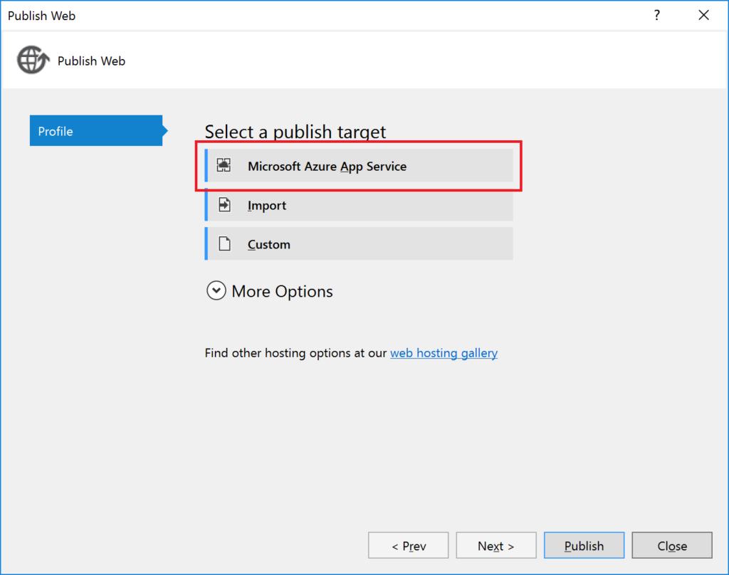 Publish Web - Microsoft Azure App Service