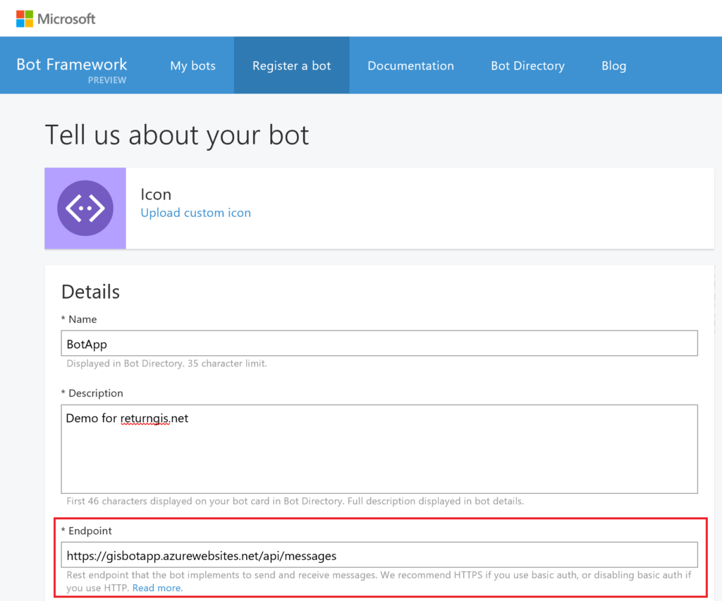 Register a bot - Endpoint