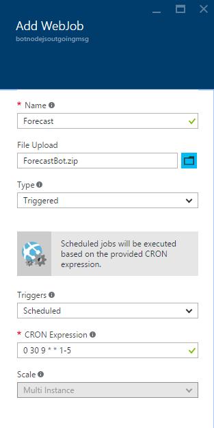 Add WebJob - Forecast