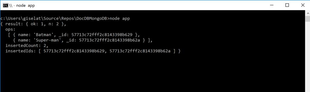 DocDB as MongoDB result