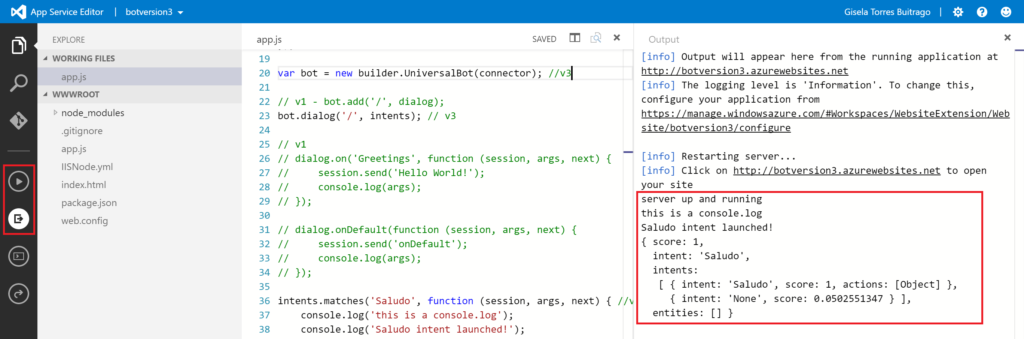 App Service Editor - Play & Output