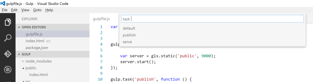 Visual Studio Code - task - gulp