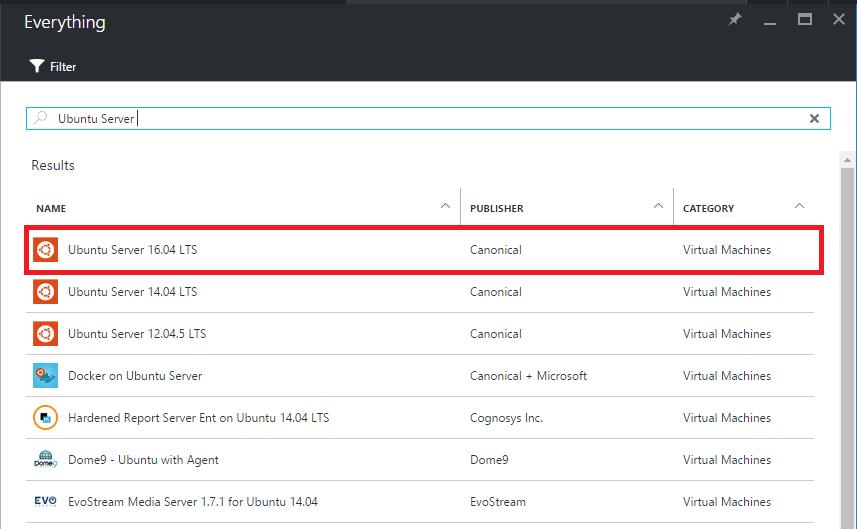 Azure Marketplace - Ubuntu Server 16.04 LTS