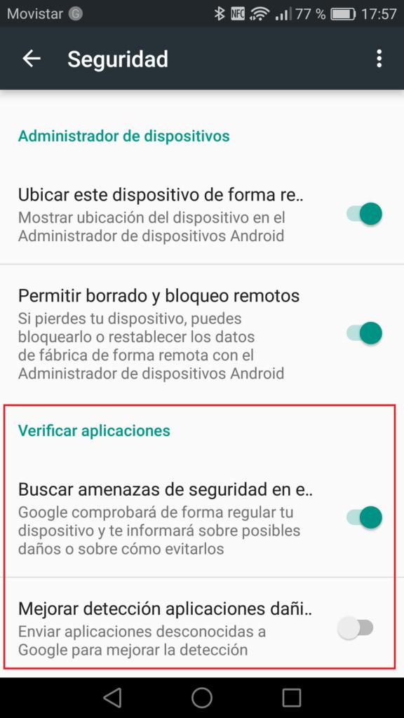 Ajustes Google - Verificar aplicaciones