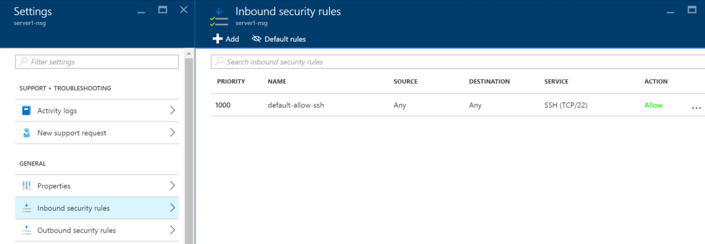 NGS - Settings - Inbound security rules