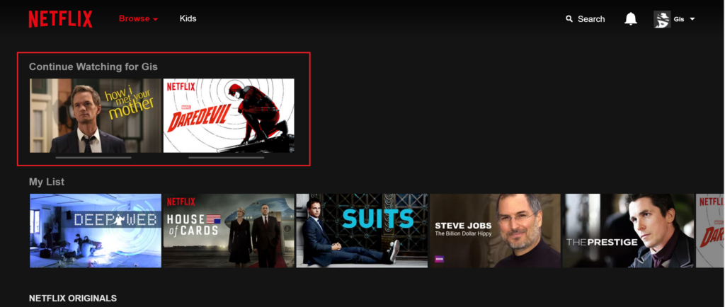 Netflix - Continue Watching for
