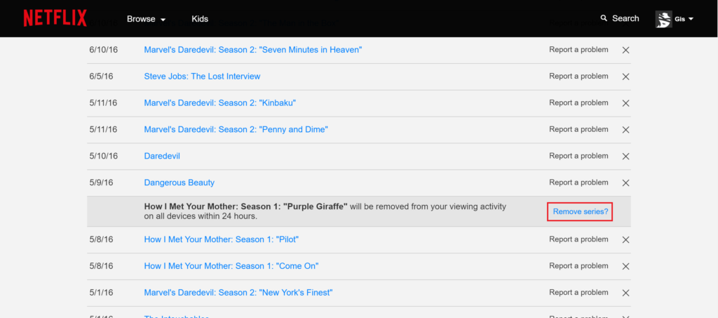 Netflix - My Activity - Remove series