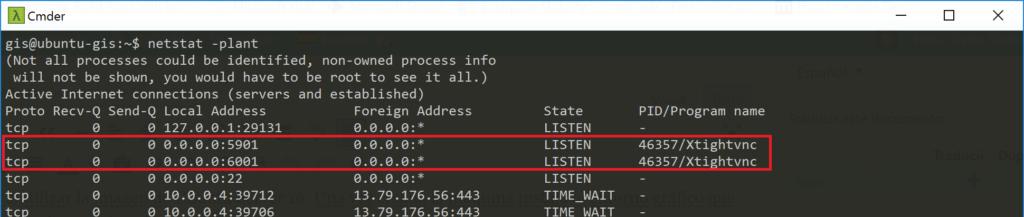 vnc server - netstat -plant
