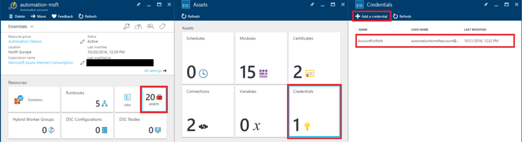 Azure Automation - Add Credential
