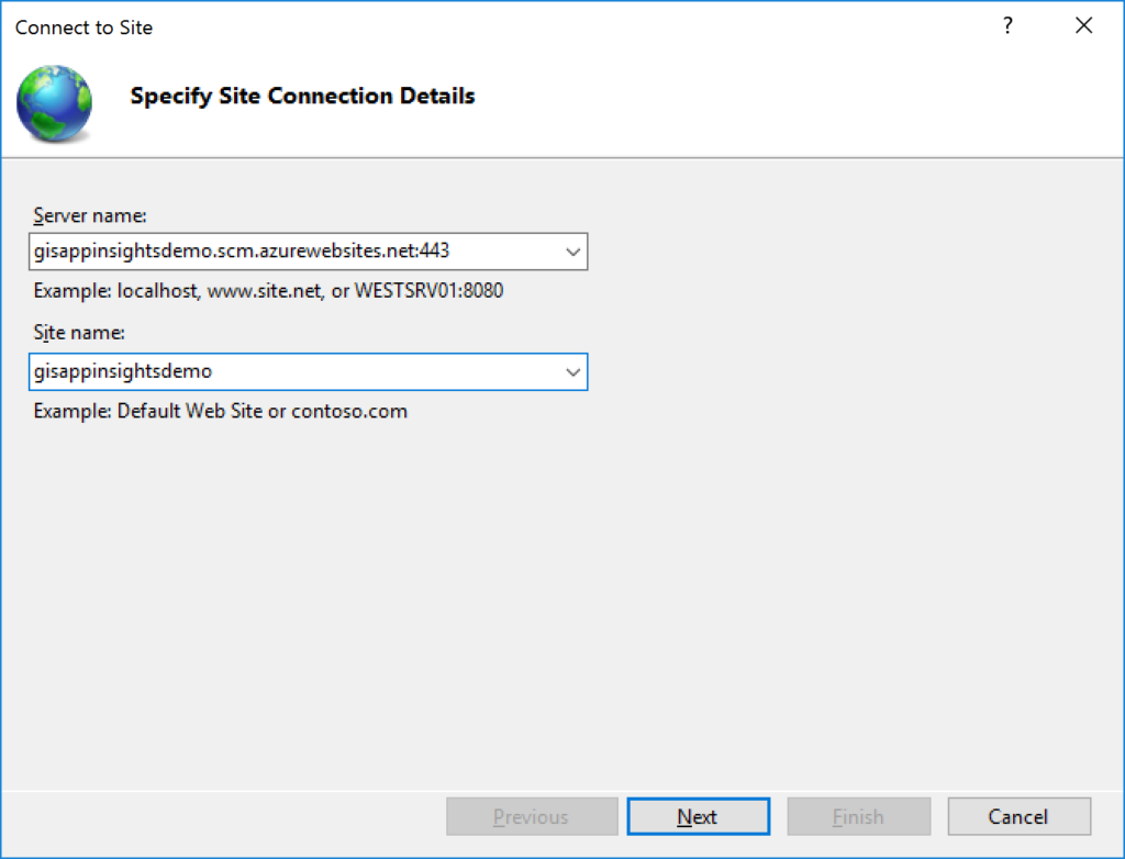 IIS Manager - Connect to a Site