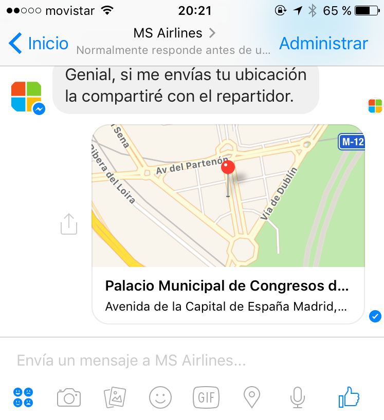 MS Airlines - Compartiendo la ubicación actual
