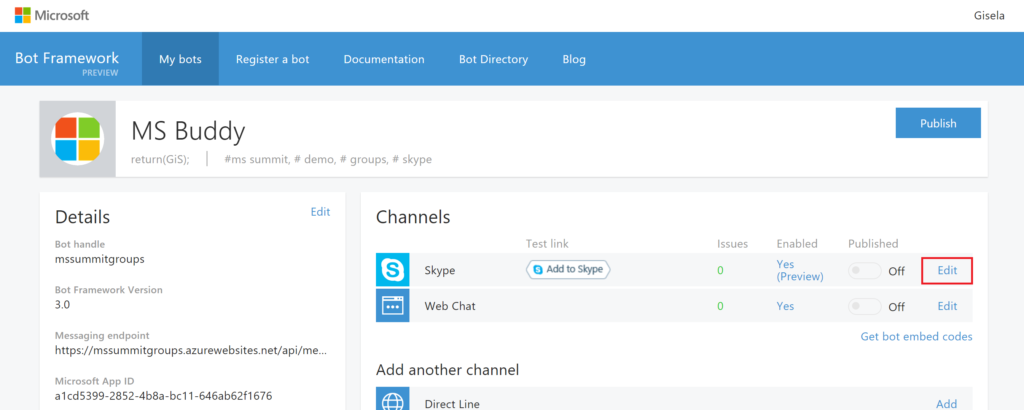 MS Bot Framework -Skype Edit