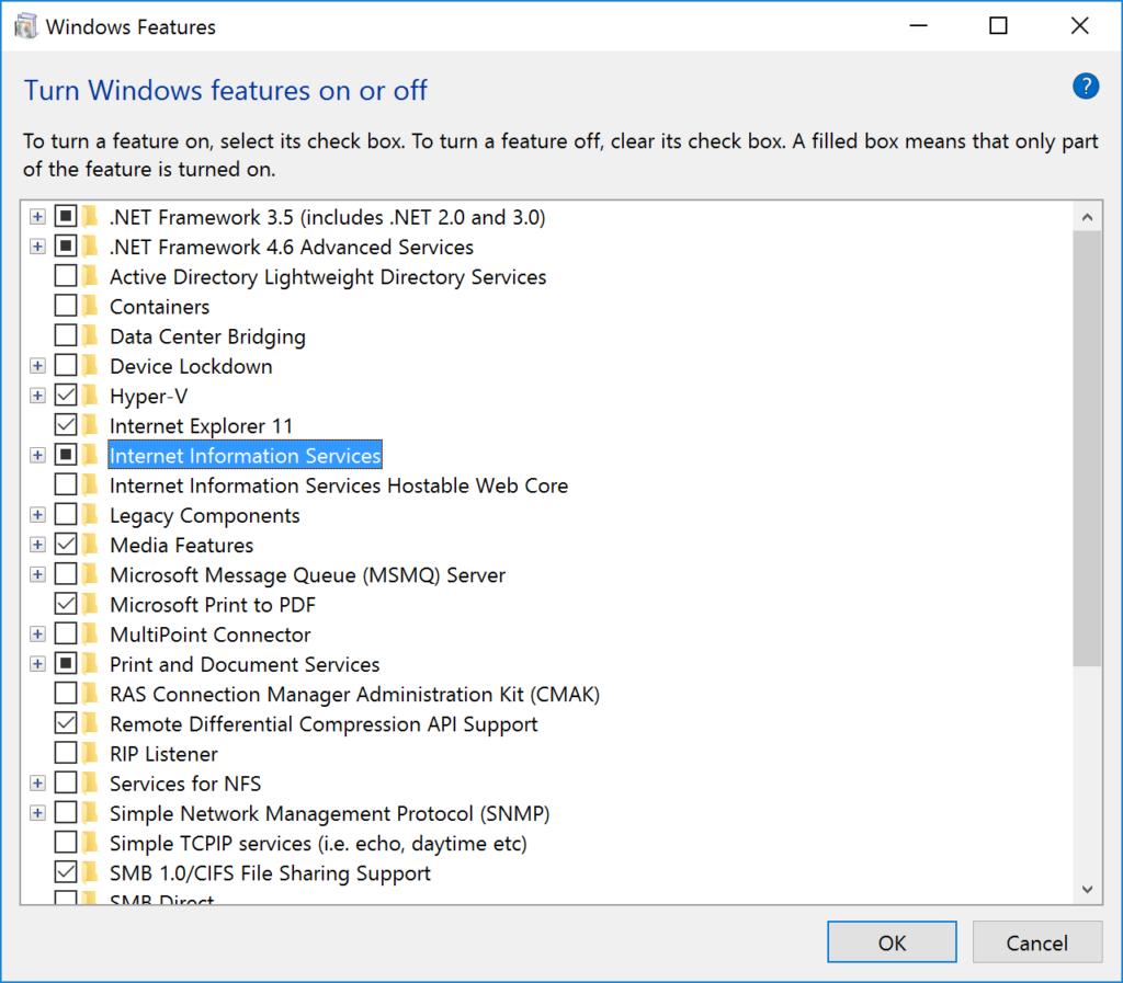 Windows Features - IIS