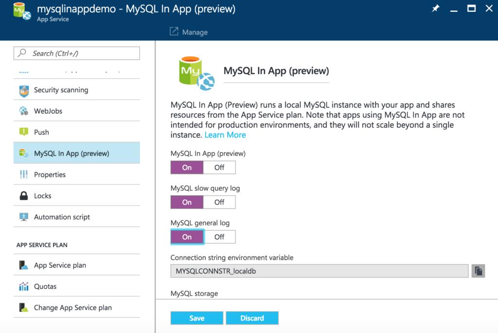 Enable MySQL In App