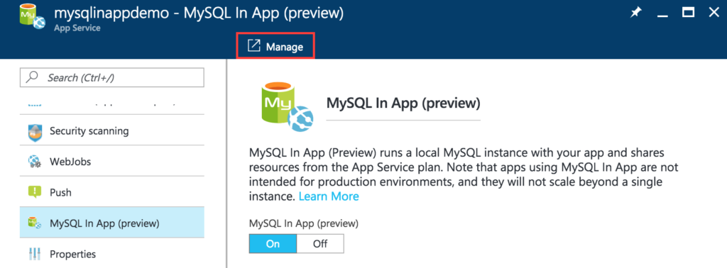 MySQL In App - Manage