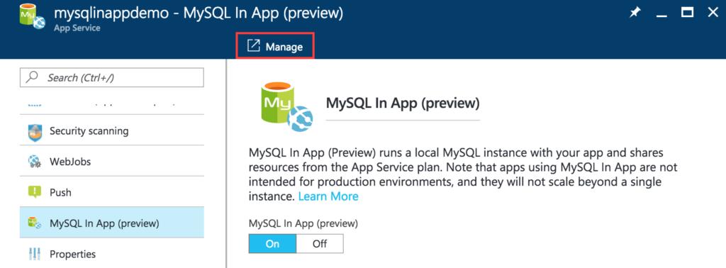 MySQL In App - Manage