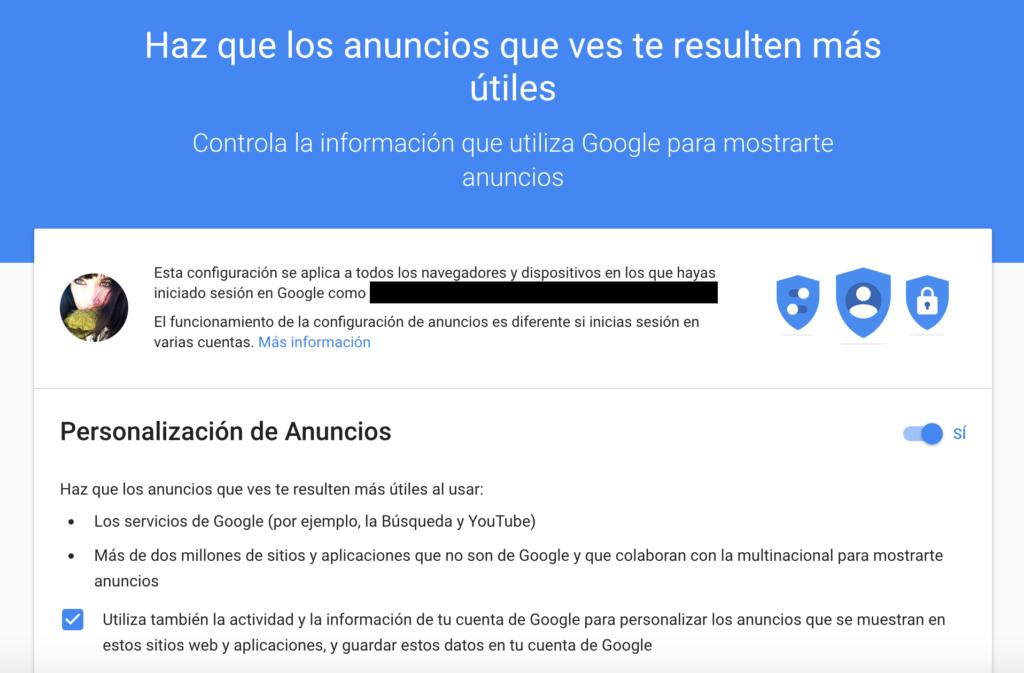 Google - Configurador de anuncios habilitado