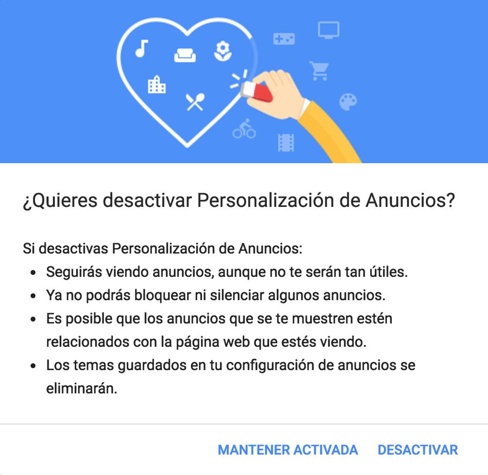 Google - ¿Quieres deshabilitar la personalización de anuncios?
