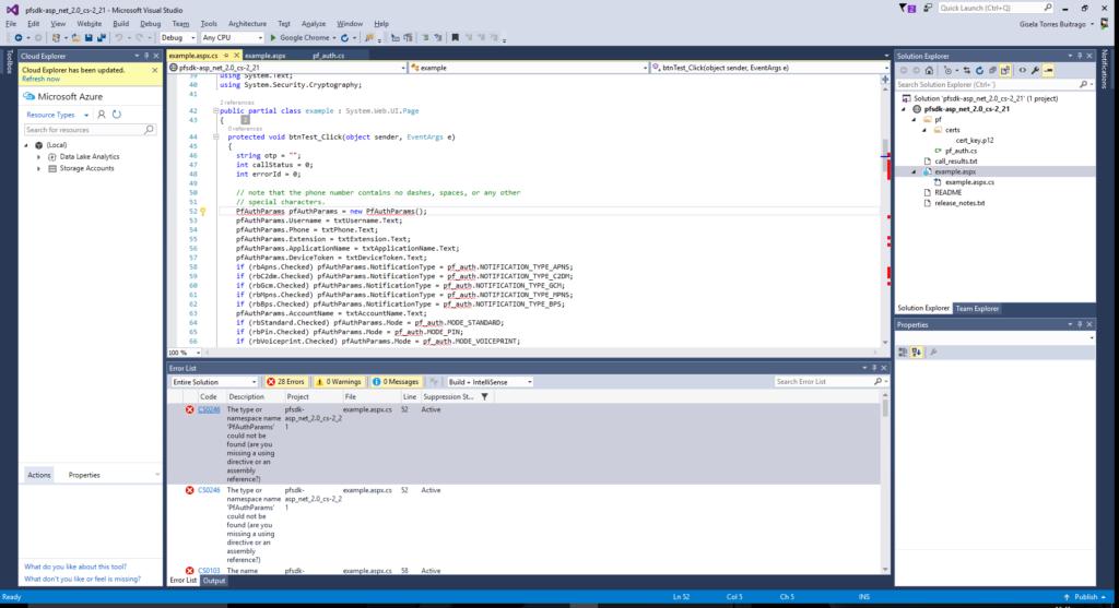 MFA - SDK ASP.NET - Errors