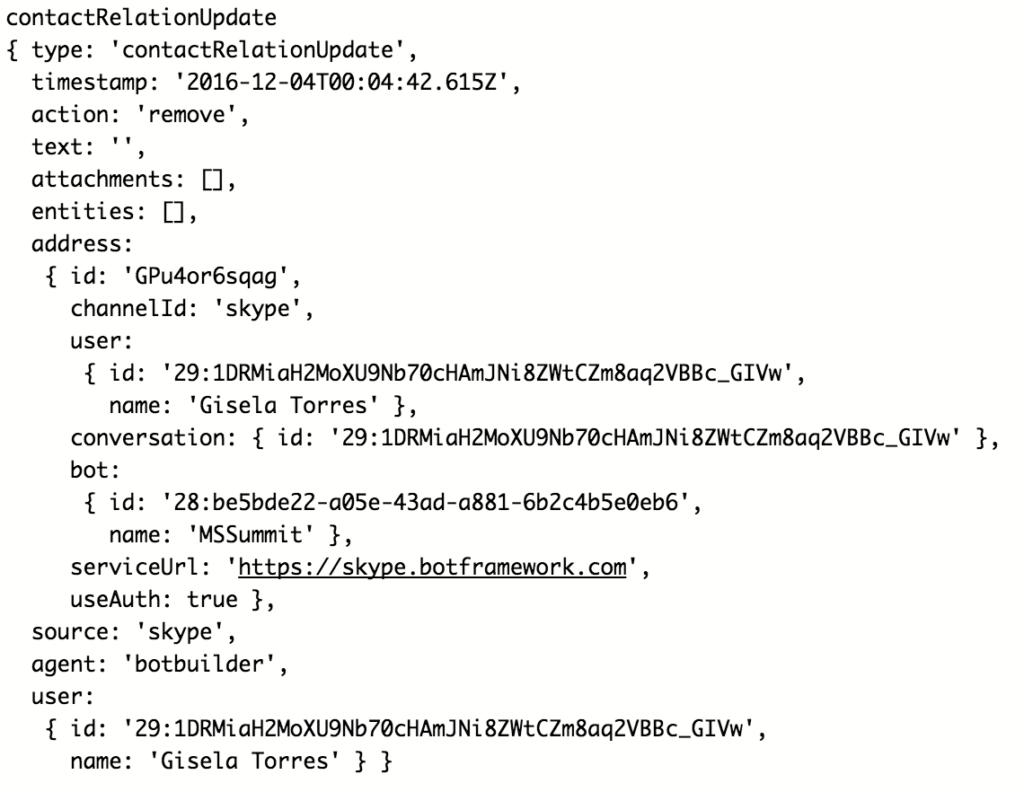 El bot ha sido eliminado de la lista de contactos del usuario