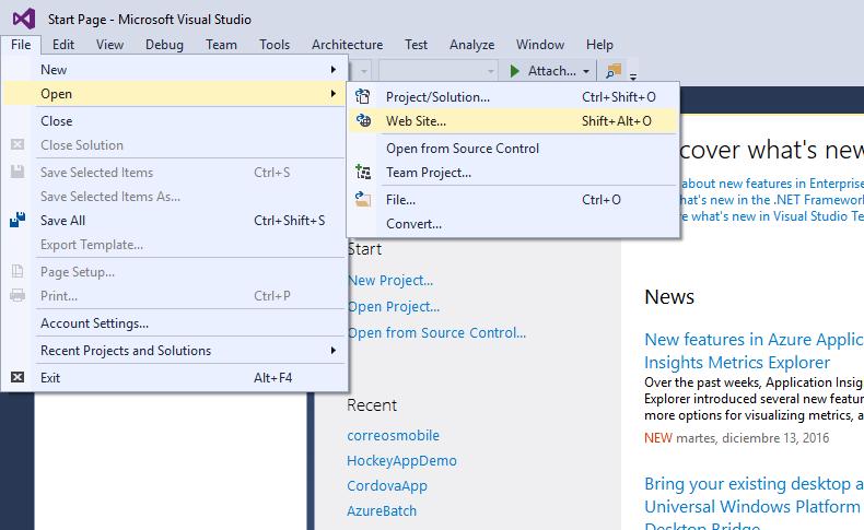 Visual Studio - Open - Web Site
