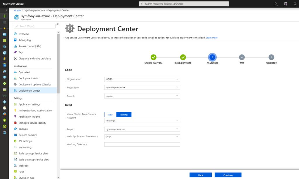 App Service - Deployment Center - Configure