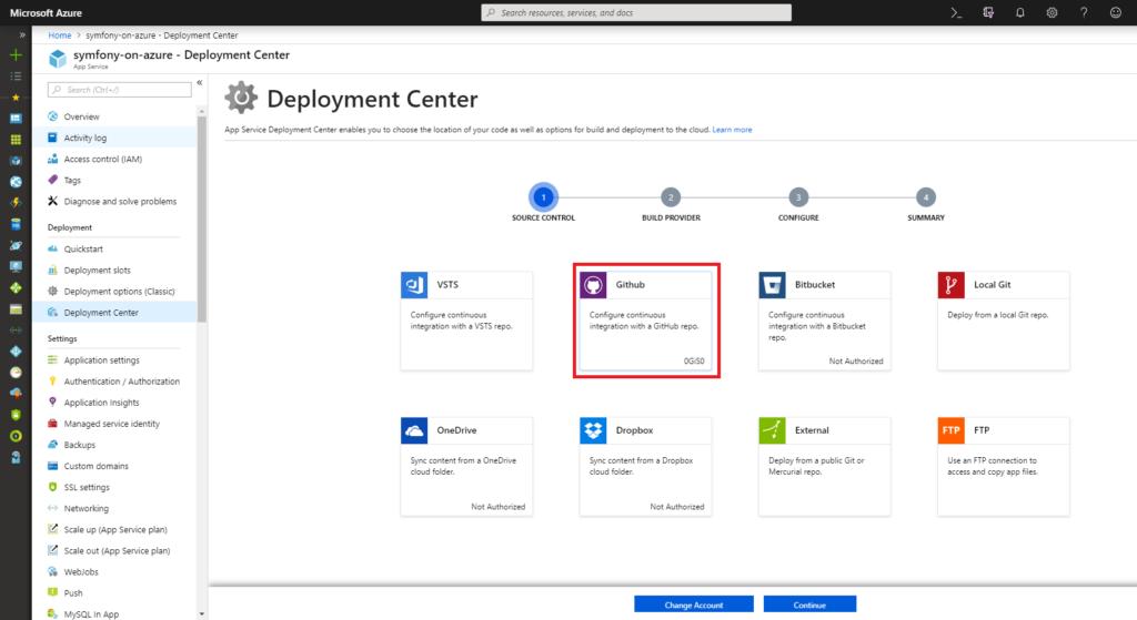 App Service - Deployment Center - Source Control - GitHub