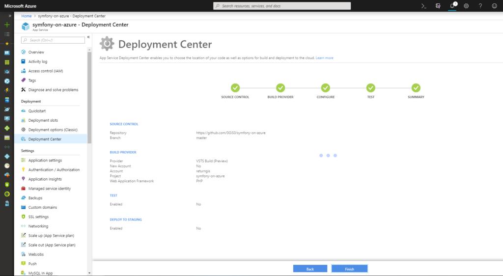 App Service - Deployment Center - Summary