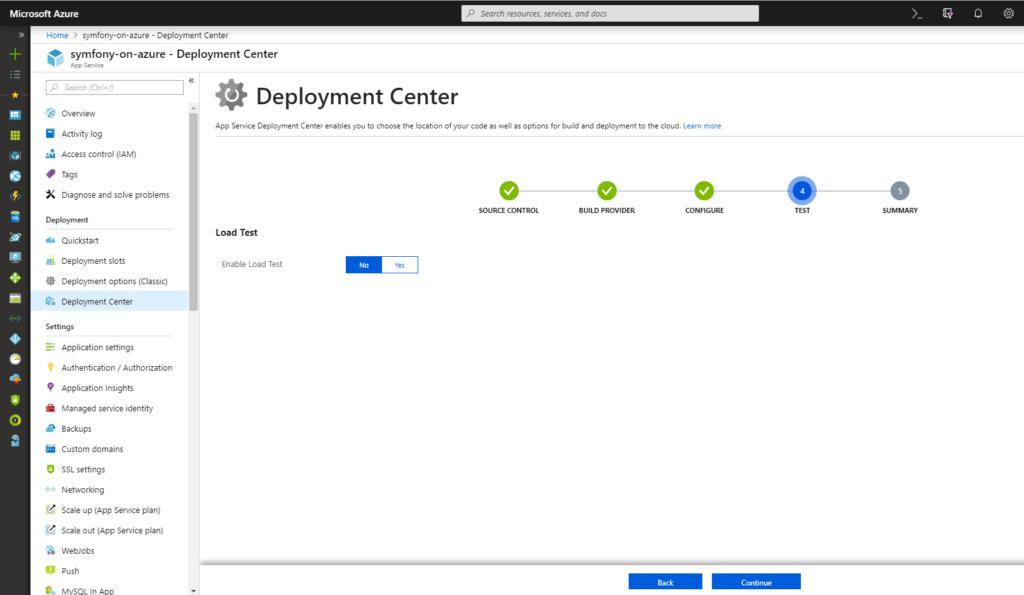 App Service - Deployment Center - Test - No