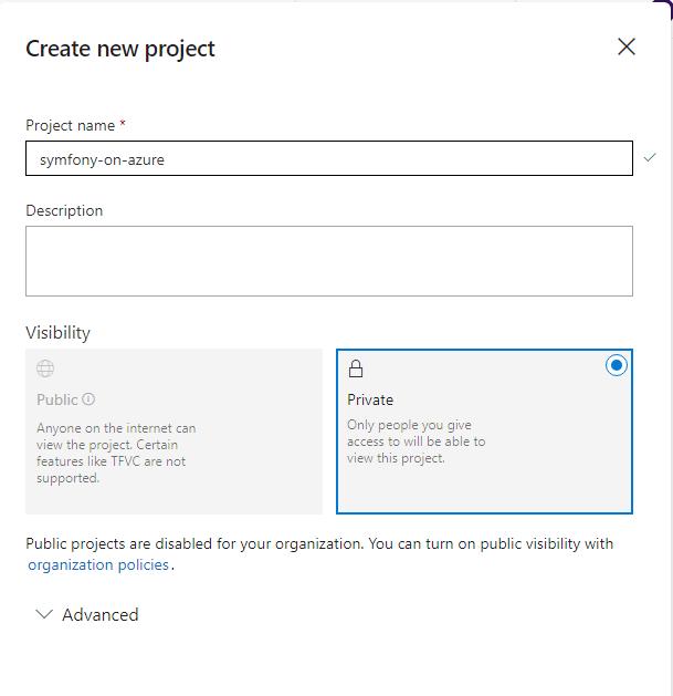 Azure DevOps - Create new project