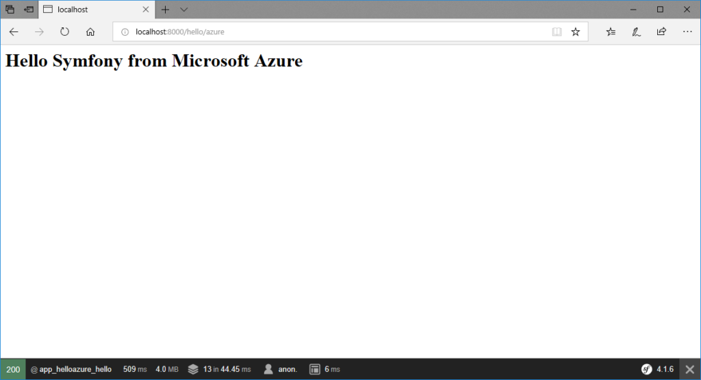 Hello Symfony from Microsoft Azure