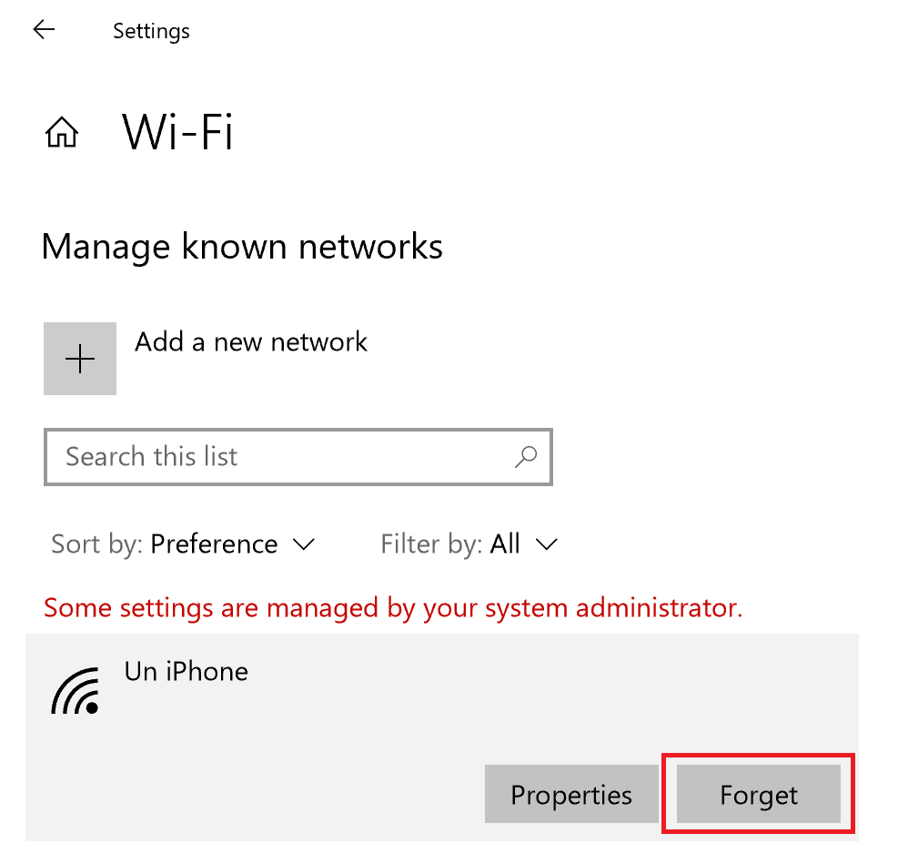 Windows 10 - Manage known networks - Forget