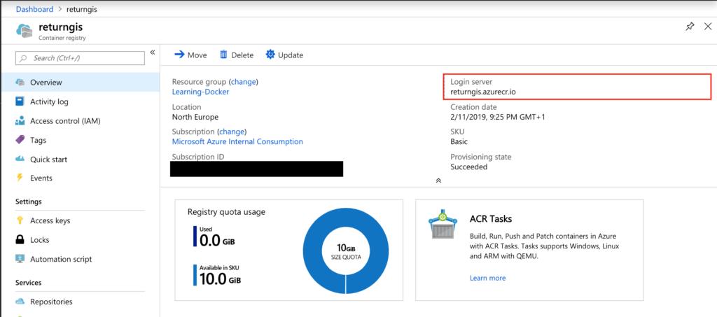 Azure Container Registry - Login Server
