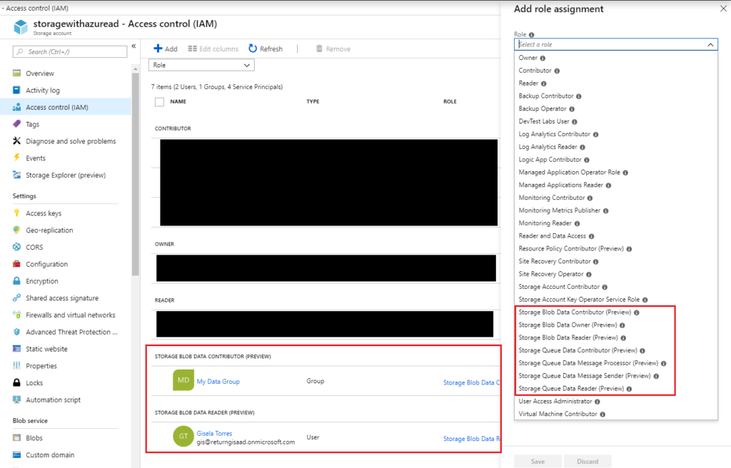 Azure Storage - Access control - Add role assignment - Nuevos permisos para Azure Storage