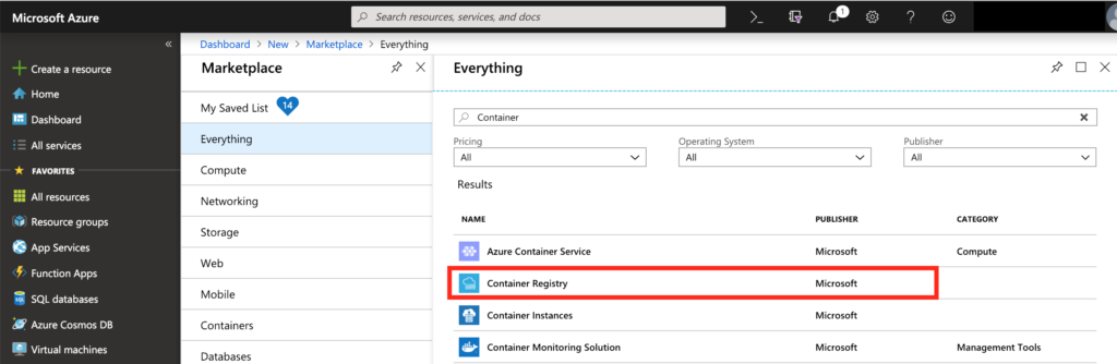 Create a resource - Azure Container Registry