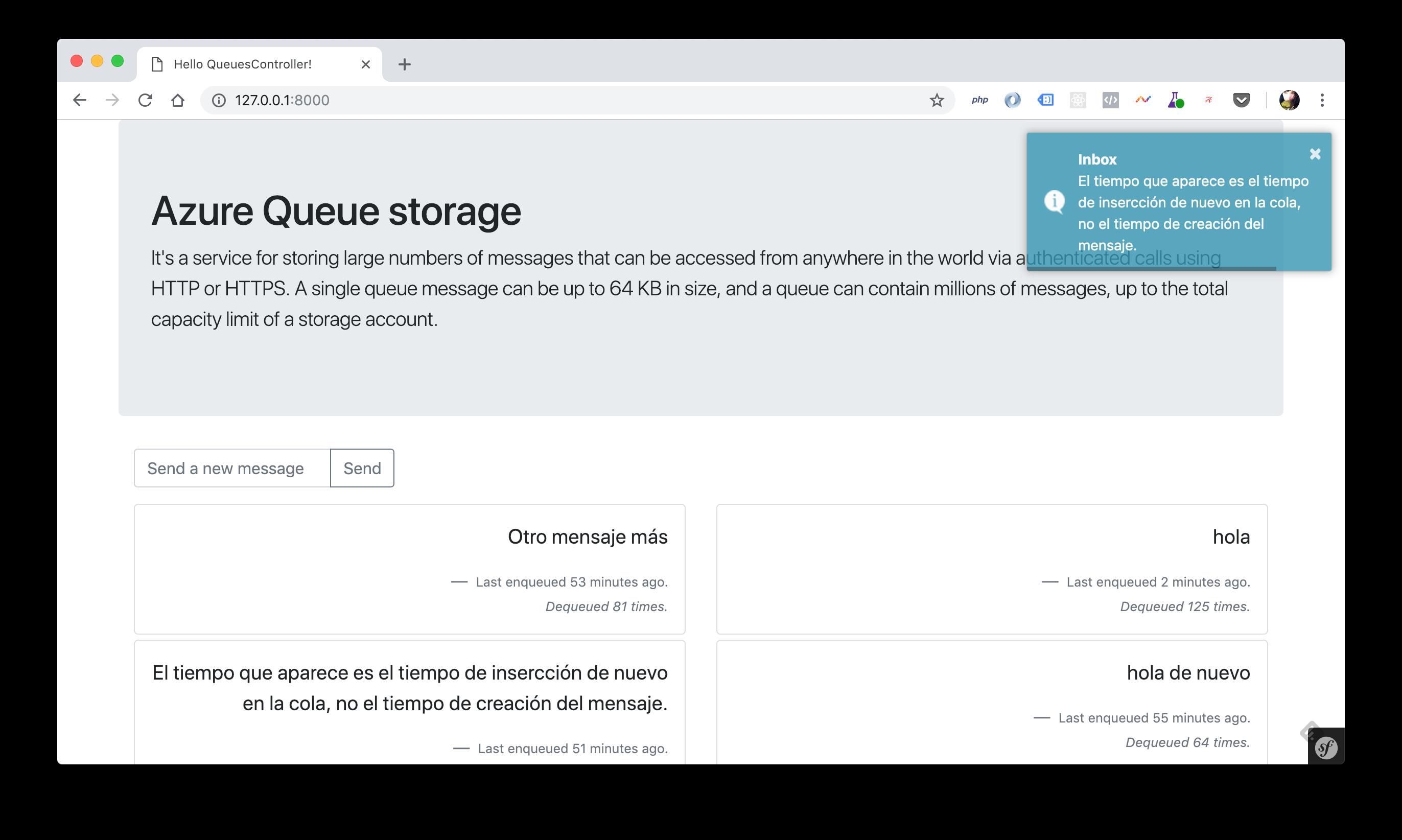 Ejemplo de Azure Storage Queues en PHP